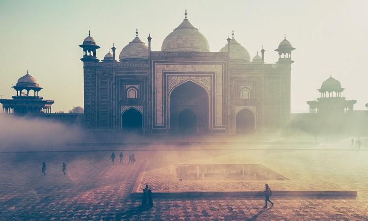 Hazy shot of the Taj Mahal in India