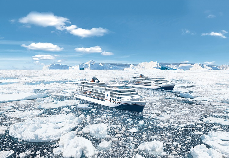 Hapag Lloyd's new expedition cruise ships, Hanseatic Inspiration and Hanseatic Nature, sailing through ice in Antarctica