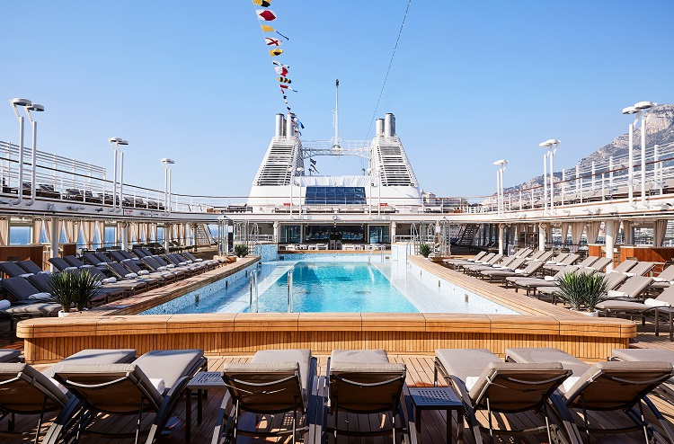 The luxurious pool deck on-board Silversea's Silver Muse cruise ship