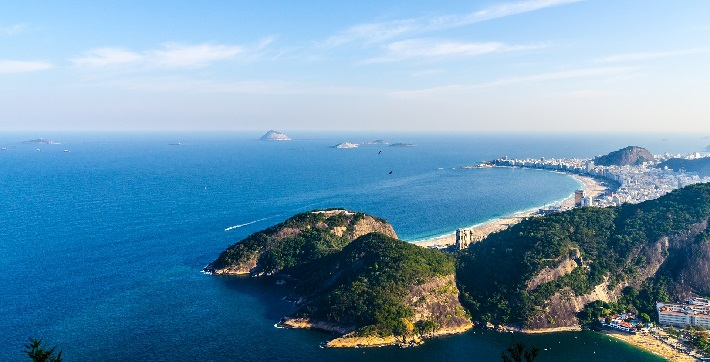 Panoramic view of Rio de Janeiro in Brazil