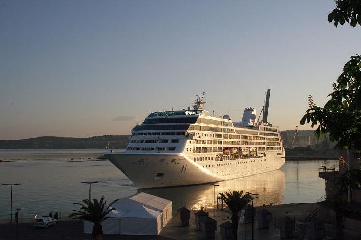 Azamara Pursuit parked in a Mediterranean cruise port