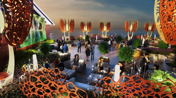 Guests socialising and having drinks in the Roof Garden on Celebrity Edge at night