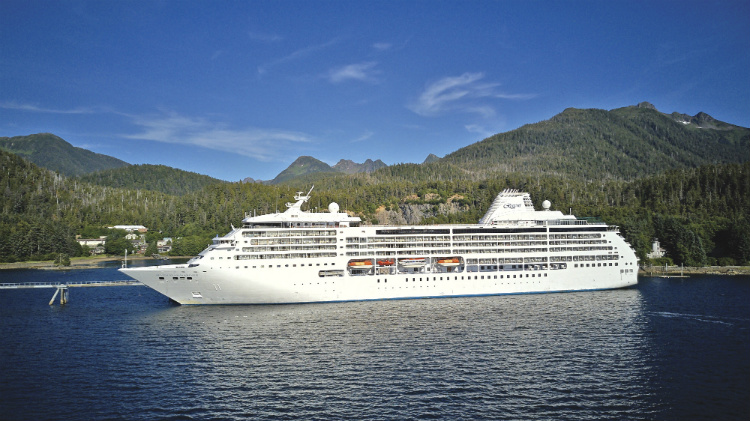 The Regent Seven Seas Mariner cruise ship in Alaska
