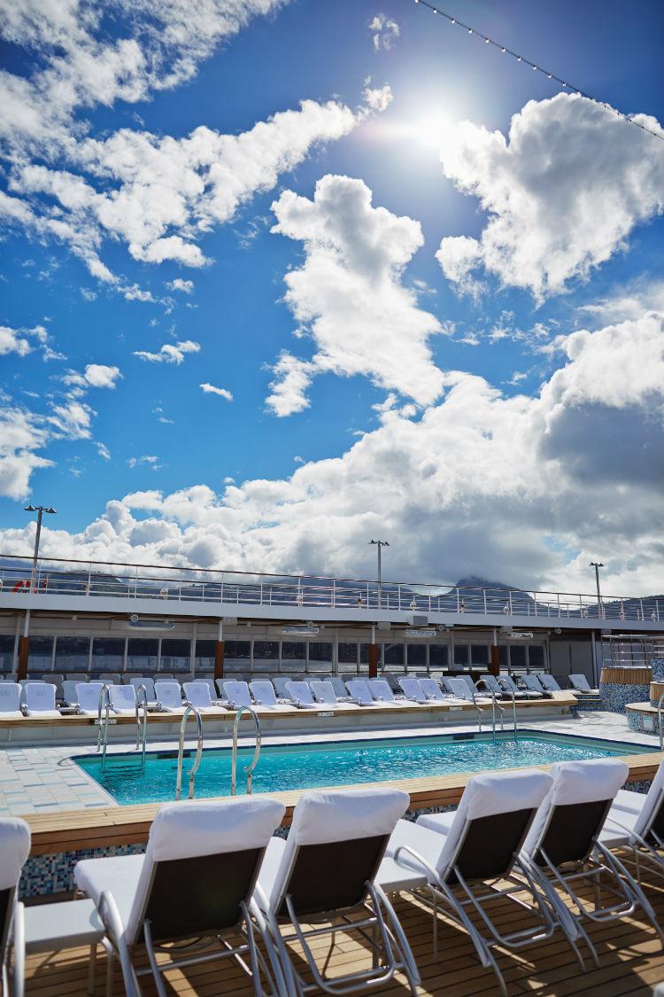 Sun shining onto the pool deck on-board Seven Seas Mariner