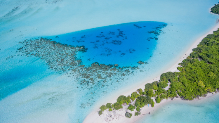 A remote island surrounded by bright blue sea in the Maldives