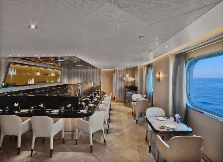 The sophisticated interior of the Sushi restaurant on-board Seabourn Ovation