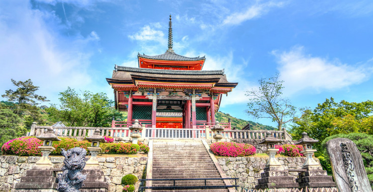 A brightly-coloured temple in Kyoto in Japan