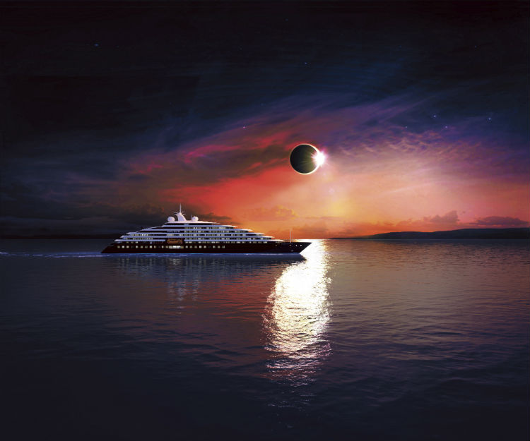 Scenic Eclipse sailing against a beautiful sunset